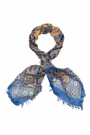 Кашемировая шаль «Павлины» Gourji. Цвет: голубой