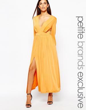 Lipstick Boutique Petite Платье макси в стиле 70-х с декольте и разрезами Pet. Цвет: оранжевый