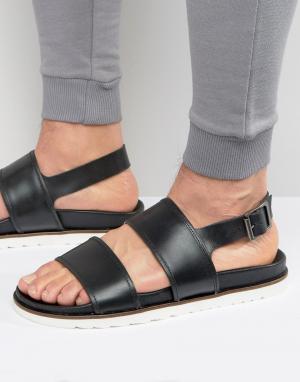 ASOS Черные кожаные сандалии на танкетке. Цвет: черный