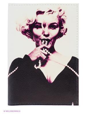 Обложка для автодокументов Монро с бусами Mitya Veselkov. Цвет: молочный, черный, темно-фиолетовый