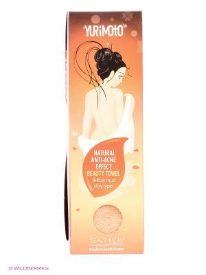 Мочалка с анти-акне эффектом добавлением желтой глины YURIMOTO NATURAL ANTI-ACNE BEAUTY TOWEL Satico. Цвет: оранжевый