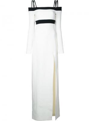 Платье с открытыми плечами и боковым разрезом David Koma. Цвет: белый