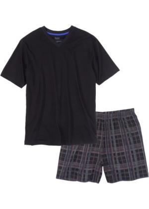 Пижама с шортами (черный в клетку) bonprix. Цвет: черный в клетку