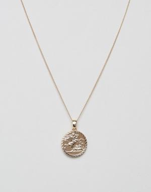 Chained & Able Золотистое ожерелье с медальоном-совереном. Цвет: золотой