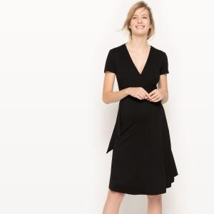 Платье с запахом для периода беременности La Redoute Collections. Цвет: черный