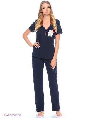 Комплект домашней одежды ( футболка, брюки) HomeLike. Цвет: темно-синий, красный