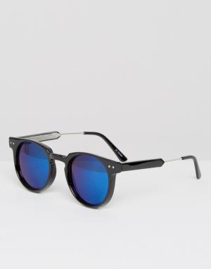 Spitfire Круглые солнцезащитные очки с синими зеркальными стеклами. Цвет: черный