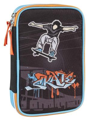 Пенал с канцтоварами Скейтер Target. Цвет: черный, голубой, светло-оранжевый