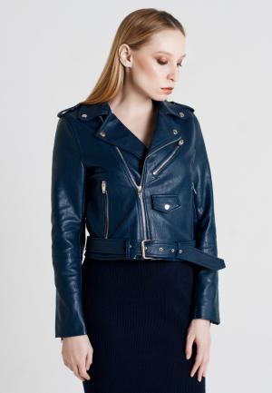 Куртка кожаная UNNA. Цвет: синий