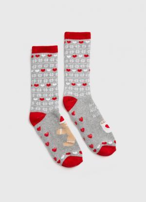Жаккардовые носки с новогодним рисунком OSTIN. Цвет: светло-серый