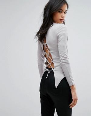 Parisian Топ со шнуровкой сзади. Цвет: серый