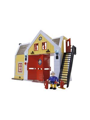 Пожарный Сэм, Пожарная станция со звуком и светом, 30 см, + 1 фигурка, 6/6 Simba. Цвет: красный, желтый, черный