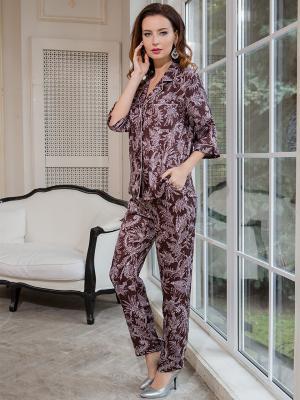 Пижама MIA-AMORE. Цвет: бледно-розовый, коричневый