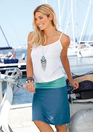 Пляжное платье, Beach Time. Цвет: бело-бирюзово-синий
