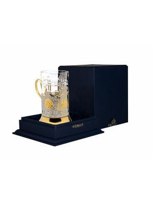 Набор для чая никелированный с позолотой Храм Спаса на Крови (подстаканник + стакан +футляр) Кольчугинъ. Цвет: серебристый, золотистый