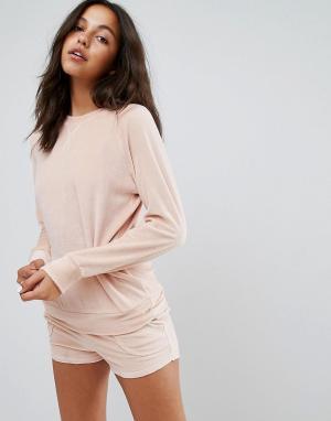 Lazy Days Велюровая пижама со свитшотом и шортами. Цвет: розовый