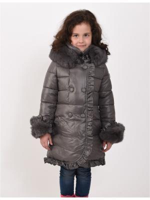 Пальто для девочек TOPKLAER. Цвет: серый
