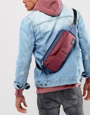 ASOS Сине-бордовая широкая сумка-кошелек на пояс. Цвет: мульти
