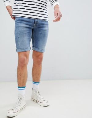 Blend Выбеленные джинсовые шорты. Цвет: синий