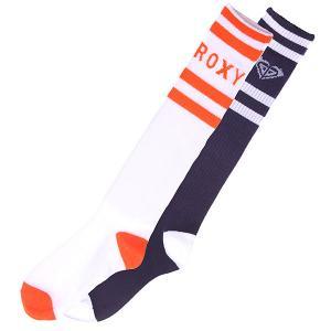 Гольфы женские  2pk Logo Navy/Orange Roxy. Цвет: белый,синий,оранжевый