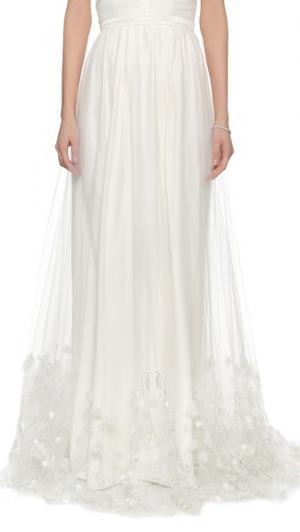 Накладная юбка Ava с вышивкой Theia. Цвет: золотой