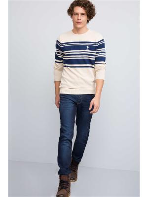 Джемпер U.S. Polo Assn.. Цвет: молочный, темно-синий