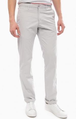 Серые зауженные брюки из хлопка Strellson. Цвет: серый