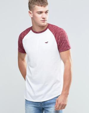 Hollister Черно-белая футболка с контрастными рукавами реглан. Цвет: белый