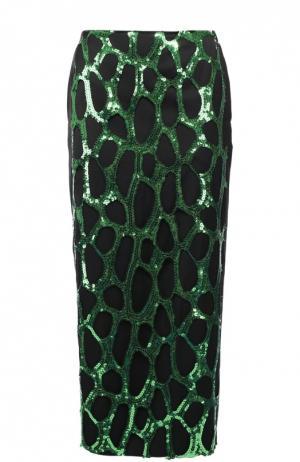 Юбка-миди с контрастной отделкой пайетками Dries Van Noten. Цвет: зеленый