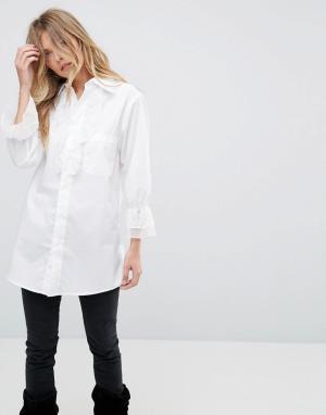 Anna Sui Рубашка с кружевной отделкой Vine. Цвет: белый