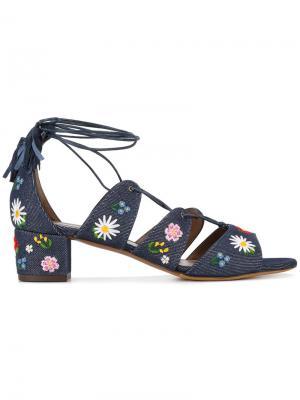 Джинсовые босоножки с вышивками Tabitha Simmons. Цвет: синий