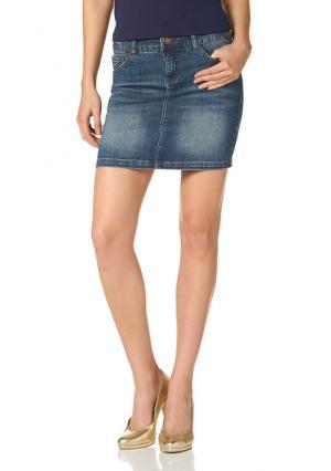 Джинсовая юбка Arizona. Цвет: синий потертый