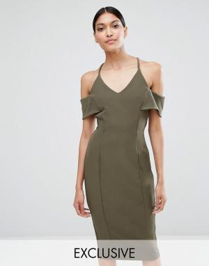 Vesper Платье-футляр на бретельках с открытыми плечами. Цвет: зеленый