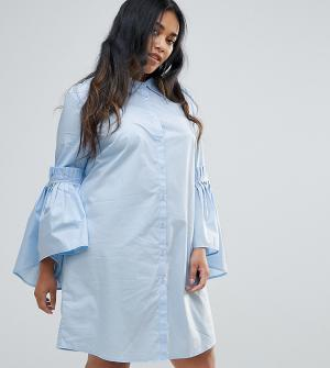 Unique 21 Hero Plus Платье-рубашка со сборками на рукавах. Цвет: синий
