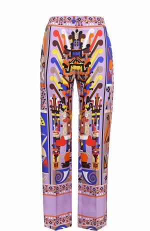 Шелковые брюки прямого кроя с принтом Emilio Pucci. Цвет: лиловый