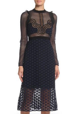 Платье приталенное Звездочка SELF-PORTRAIT. Цвет: синий