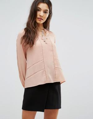 Greylin Блузка со складками Trina. Цвет: розовый