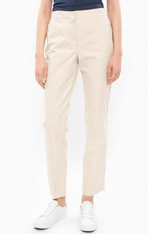 Бежевые брюки чиносы из хлопка Lacoste. Цвет: бежевый