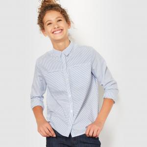 Рубашка в полоску, 10-16 лет R essentiel. Цвет: синий/ белый