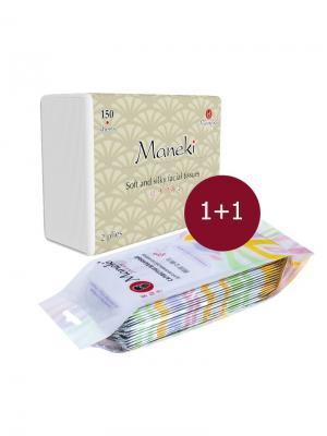 Косметический набор KN1511 Салфетки влажные для интимной гигиены, 15 шт + бумажные, 150 Maneki. Цвет: белый