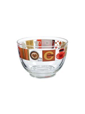 Салатница стеклянная с рисунком, 690 мл, Кофе Elff Ceramics. Цвет: коричневый,прозрачный,красный