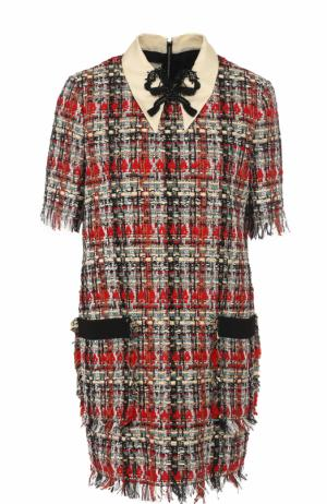 Буклированное мини-платье с коротким рукавом Gucci. Цвет: красный