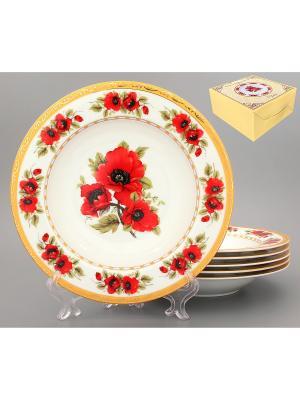 Набор суповых тарелок Маки Elan Gallery. Цвет: красный, белый