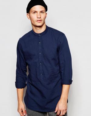 ADPT Длинная рубашка классического кроя с горловиной на пуговице. Цвет: синий
