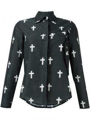 Рубашка с принтом крестов Area Di Barbara Bologna. Цвет: зелёный