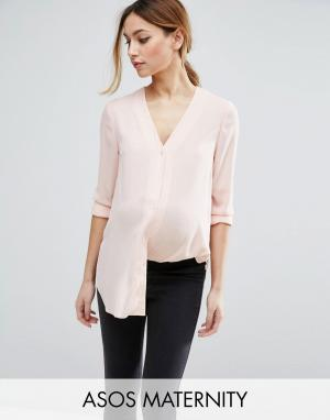 ASOS Maternity Блузка с V-образным вырезом DESIGN. Цвет: розовый