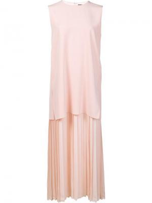 Многослойное плиссированное платье Adam Lippes. Цвет: розовый и фиолетовый