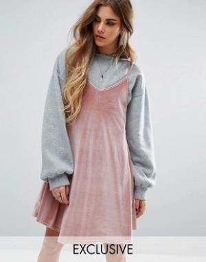 Rokoko Платье 2 в 1 со свитшотом. Цвет: мульти
