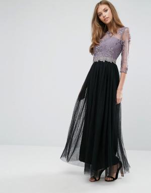 Little Mistress Платье макси с кружевом и отделкой пайетками. Цвет: розовый