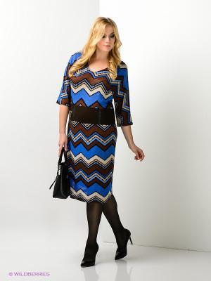 Платье Amelia Lux. Цвет: коричневый, синий